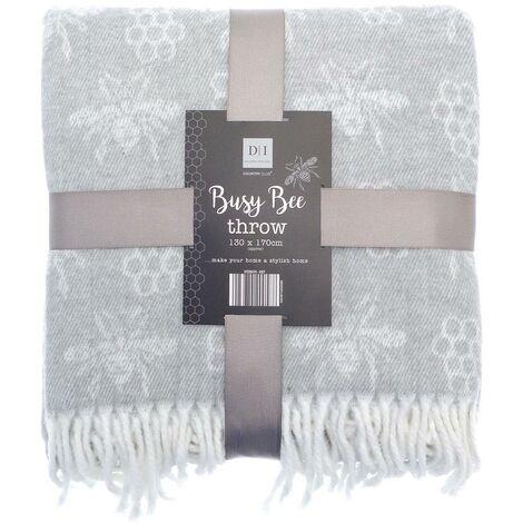 Busy Bee Throw Bed/Sofa Throwover Blanket Grey Throws Tassel 130x170cm