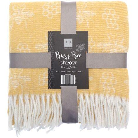 Busy Bee Throw Bed/Sofa Throwover Blanket Ochre Throws Tassel 130x170cm