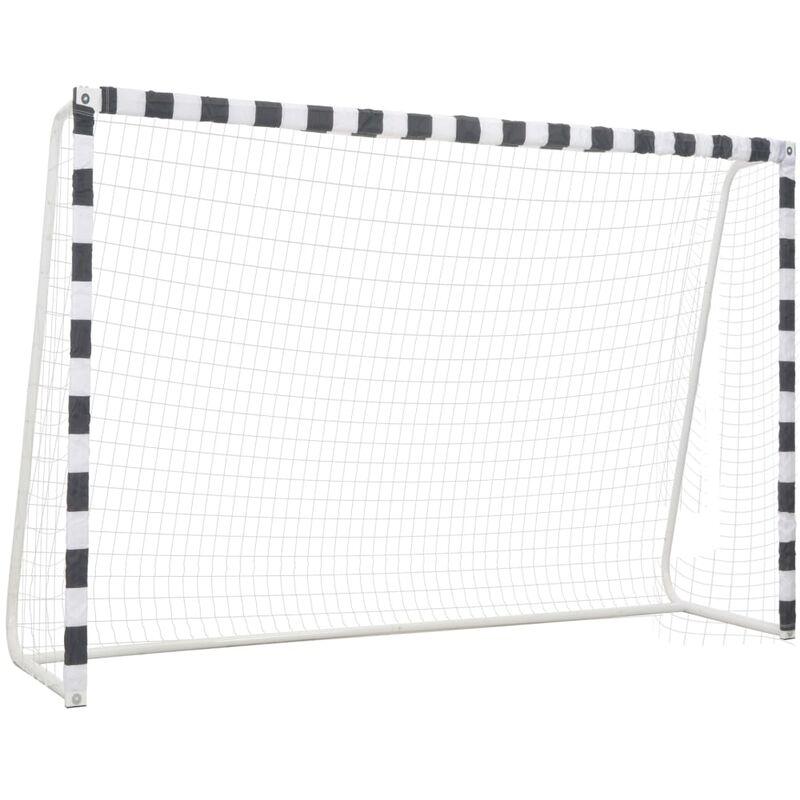 Vidaxl - But de football 300x200x90 cm Métal Noir et blanc