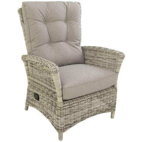 Butaca de jardín reclinable | Aluminio y rattán sintético redondo | Blanco grisáceo | Tamaño:86x83x106 cm | Portes gratis