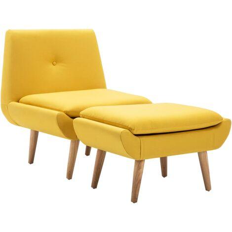 Butaca con reposapiés tapizada de tela amarilla