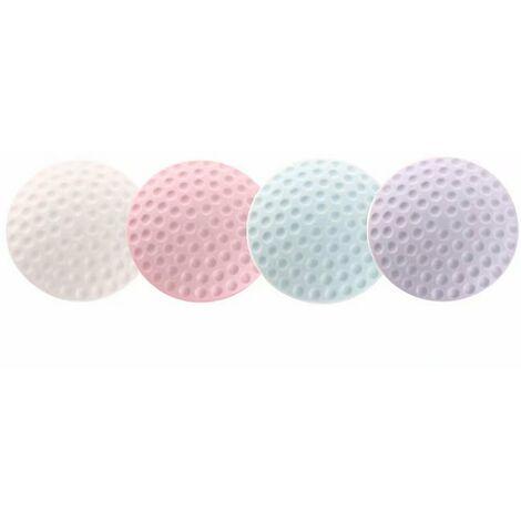 Butée de porte, 4 ensembles de dispositif de protection de meubles pour mur souple et vis à outils, coussin anti-collision pour mur de soutènement 5x5 (4 pièces, blanc + rose + violet clair + bleu)