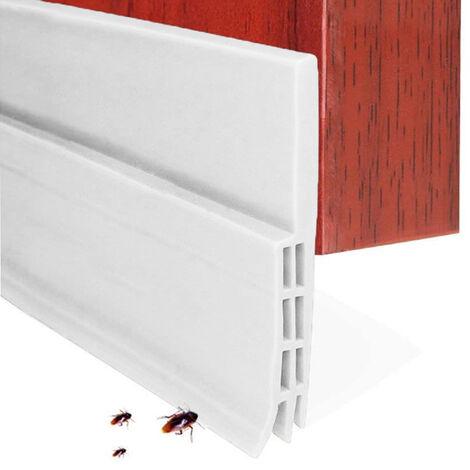 Butée de tirage de porte Balayage de porte pour portes extérieures / intérieures, bande de joint d'étanchéité de porte étanche sous le joint de pare-brise de porte, coupe-froid insonorisé pour bas de porte ---- 28 mm ---- blanc