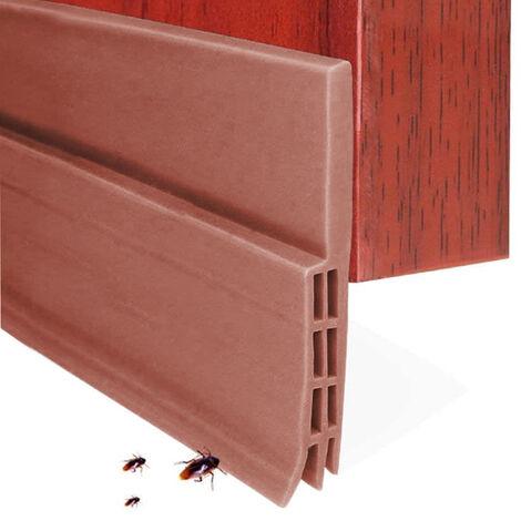 Butée de tirage de porte Balayage de porte pour portes extérieures / intérieures, bande d'étanchéité de porte étanche sous le joint de pare-brise de porte, coupe-froid insonorisé pour bas de porte, marron