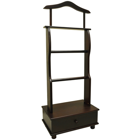 BUTLER - Solid Pine Clothes Storage Hanger / Valet - Mahogany