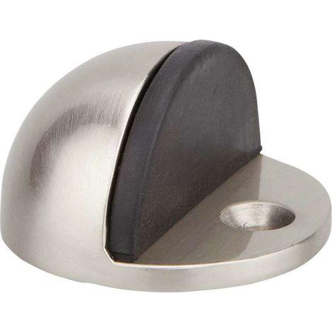 Butoir de porte demi boule - Décor : Nickel satiné - Hauteur : 25 mm - Diamètre : 44 mm - Matériau : Zamac - THIRARD