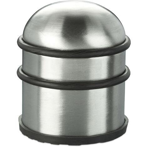 Butoir de porte, lourdes entrées & fenêtres, acier inoxydable & caoutchouc, haut & rond, ∅ 7 cm, argenté