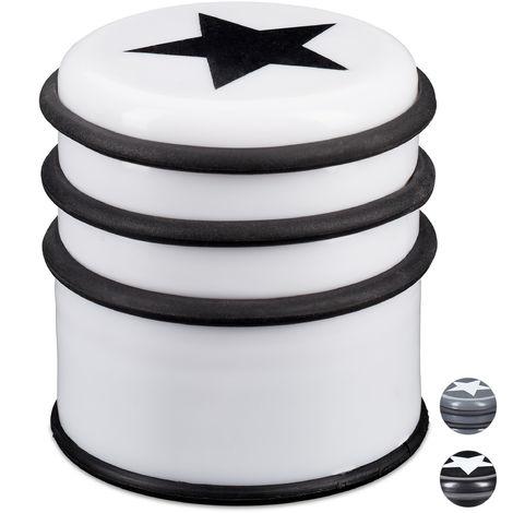 d/écoration polyester rempli tampon pour porte d/écoratif int/érieur 23 x 24 x 19 cm blanc Relaxdays marron Butoir Ours sable tient droit