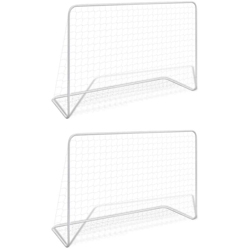 Buts de football 2 pcs avec filets 182x61x122 cm Acier Blanc