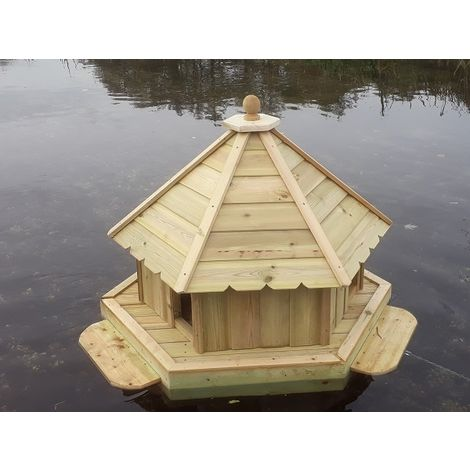 Buttercup Hexagonal Floating Duck House - Large, Waterfowl Nesting Box for Pond or Lake