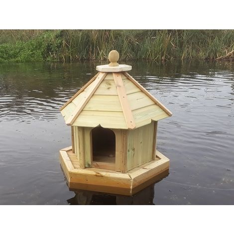 Buttercup Hexagonal Floating Duck House - Small, Waterfowl Nesting Box for Pond or Lake