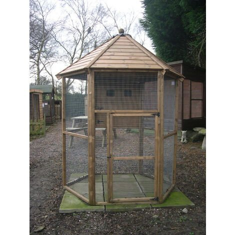 Buttercup Hexagonal Outdoor Bird Aviary 6' diameter with nesting box
