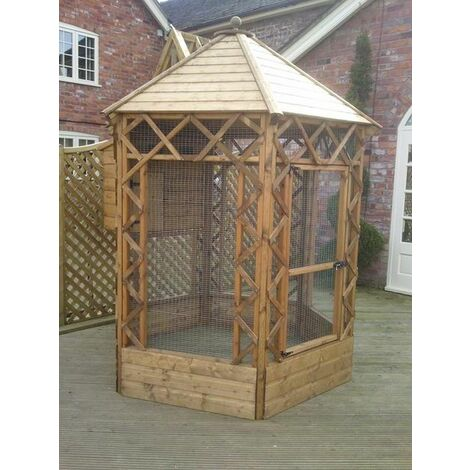 Buttercup Outdoor Bird Cage Hexagonal Victorian Aviary 6' diameter with nestbox