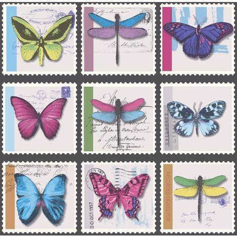 Butterfly Butterflies Wallpaper Collage Stamps Metallic Vinyl Farfalla Holden