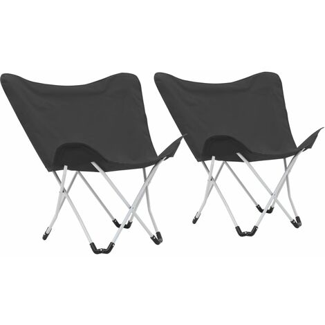 Butterfly Camping Chairs 2 pcs Foldable Black