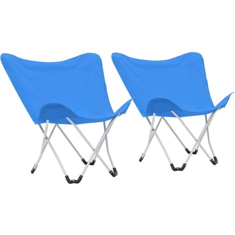 Butterfly Camping Chairs 2 pcs Foldable Blue
