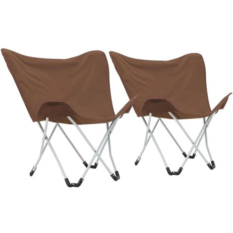 Butterfly Camping Chairs 2 pcs Foldable Brown