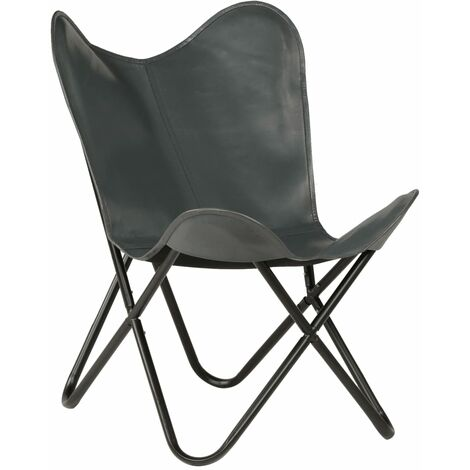 """main image of """"Butterfly Chair Grey Kids Size Real Leather - Grey"""""""
