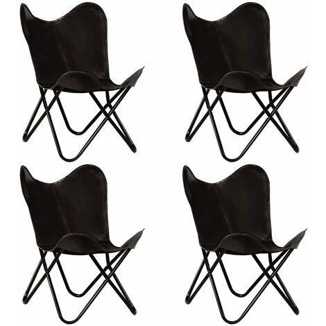 Butterfly Chairs 4 pcs Black Kids Size Real Leather