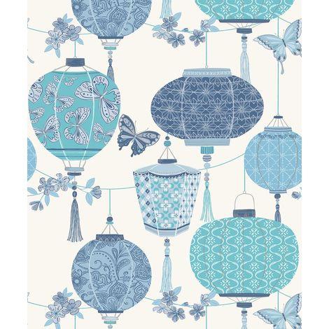 Butterfly Chinese Lanterns Oriental Wallpaper Blue Pearl Silver Metallic Rasch