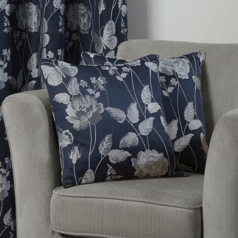 """Butterfly Meadow Cushion Cover Navy 17x17"""" Bed Sofa Accessory"""