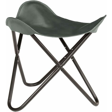 Butterfly Stool Grey Real Leather