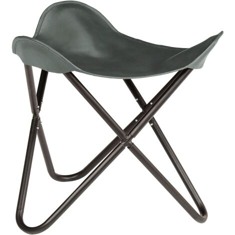 Butterfly Stool Grey Real Leather - Grey