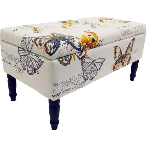 "main image of ""BUTTERFLY - Storage Ottoman Stool / Blanket Box / Padded Trunk - Black / Cream / Multi"""