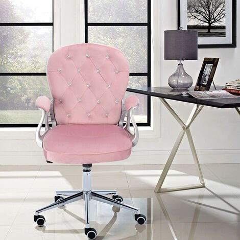 Button Swivel Chair with Chrome Feet Office Chair Gas Lift Swivel Computer Seat- Pink Velvet