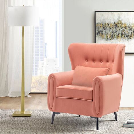 Buttoned High Back Lounge Armchair with Cushion