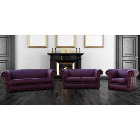 Buy Aubergine Sofa 3+2+1   Leather Chesterfield Sofa Made in UK DesignerSofas4U