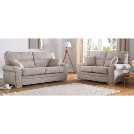 Buy beige fabric sofa Suite Fixed Back   High Back Rest   DesignerSofas4U