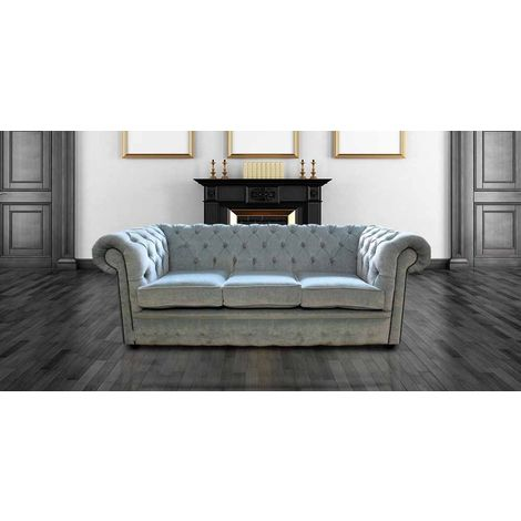 Buy duck egg blue fabric Chesterfield | DesignerSofas4U