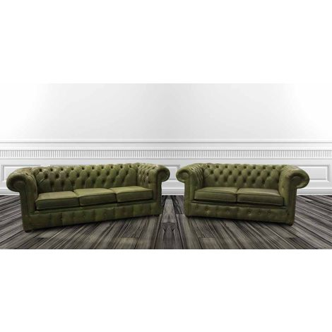 Buy green grass leather suite|Chesterfield furniture online|DesignerSofas4U