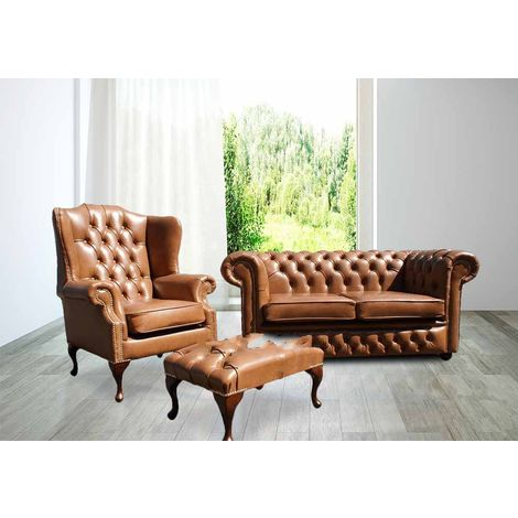 Buy leather sofa suite|Brown Leather Chesterfield Furniture|DesignerSofas4U
