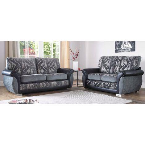 Buy modern grey fabric sofa Suite Free swatches DesignerSofas4U