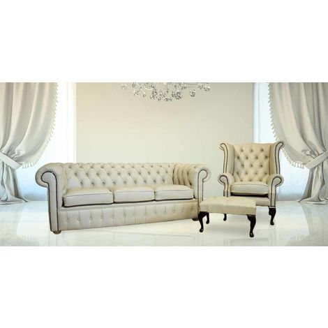 Buy now pay later | Chesterfield Sofa Cream|Leather furniture|DesignerSofas4U