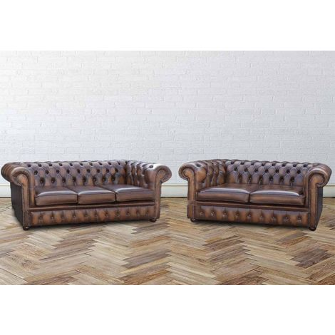 Buy Orignal 3 + 2 Chesterfield Sofa Antiqued Tan Leather|Sofa Sale|DesignerSofas4U