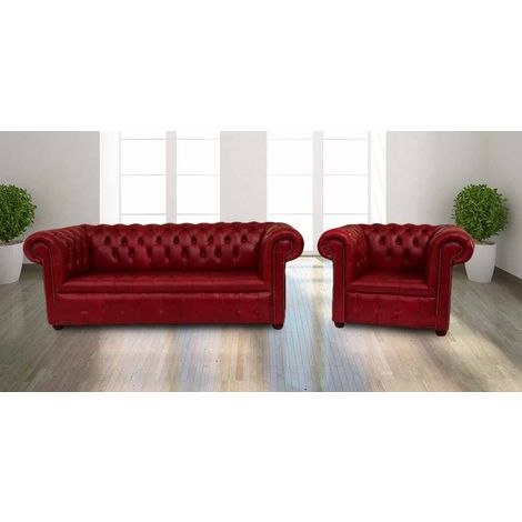 Buy red leather 3+1 Chesterfields|UK Manufacturer|DesignerSofas4U