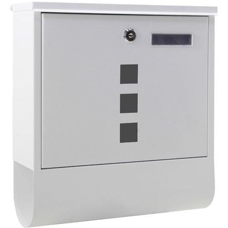 Buzón con soporte para periódicos Blanco Con 2 llaves Montaje pared Correo Cartas Correspondencia
