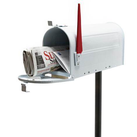 Buzón correo US Mail diseño americano blanco pie apoyo soporte pedestal cartas vintage retro metal
