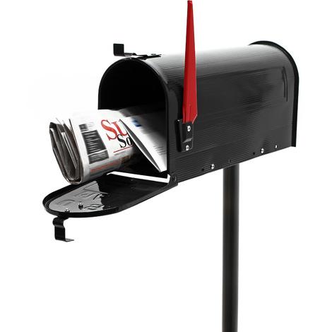 Buzón correo US Mail diseño americano negro pie apoyo soporte pedestal cartas vintage retro metal