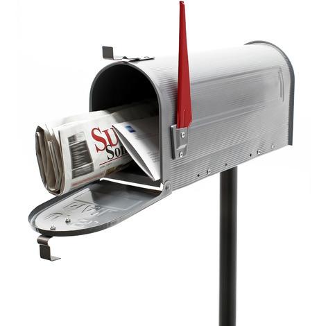 Buzón correo US Mail diseño americano plateado pie apoyo soporte pedestal cartas vintage retro metal