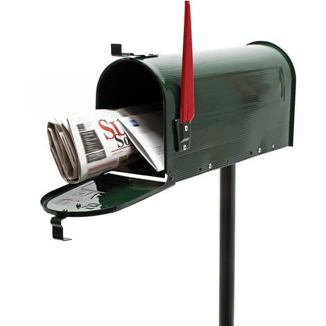 Buzón correo US Mail diseño americano verde pie apoyo soporte pedestal cartas vintage retro metal