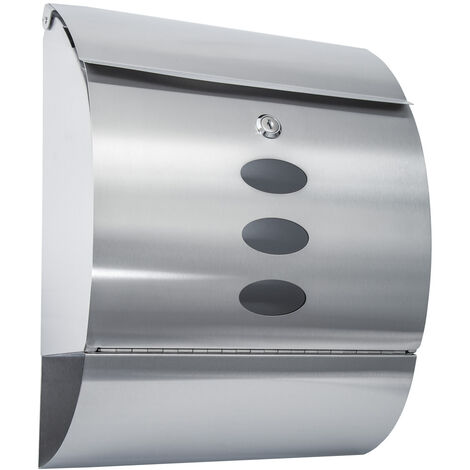 Buzón de acero inoxidable curvo con compartimento para periódicos - buzón exterior de correo, buzón para cartas con compartimento para periódicos, buzón comunitario de acero - plata