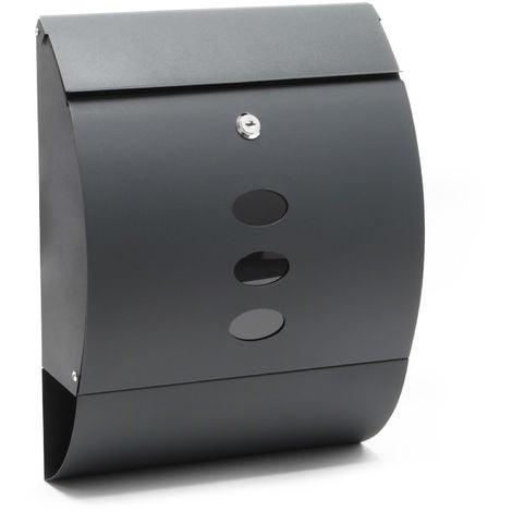 Buzón de diseño V18 Buzón de pared Antracita Compartimento de periódico