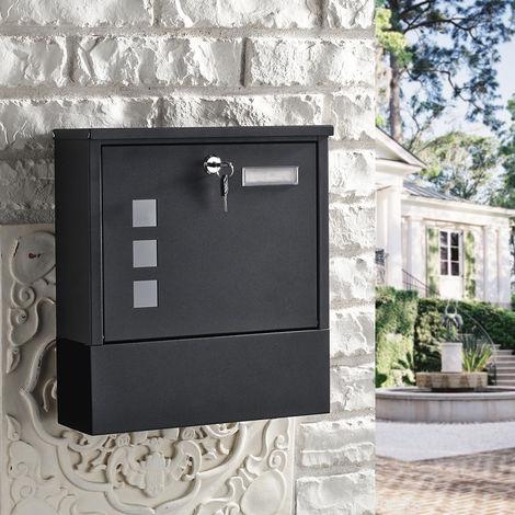 Buzón de diseño WOOHSE negro con compartimento para periódico, etiqueta con nombre, ventana de visualización, acero inoxidable con recubrimiento en polvo, con cerradura, 2 llaves, color: negro