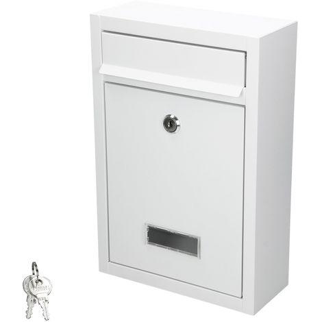 Buzón de exterior cuadrado color blanco para pared acero inoxidable + 2 llaves