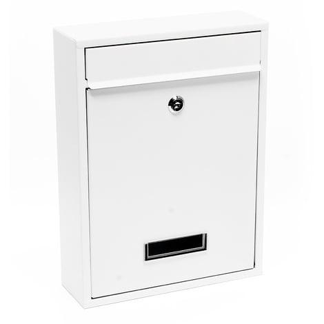 Buzón de pared Correo Postal Cartas Grupo Blanco Acero decorativo Recubierto en Polvo V11