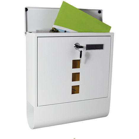 Buzón de pared de acero inoxidable + placa de identificación blanco Compartimento del periódico Llave